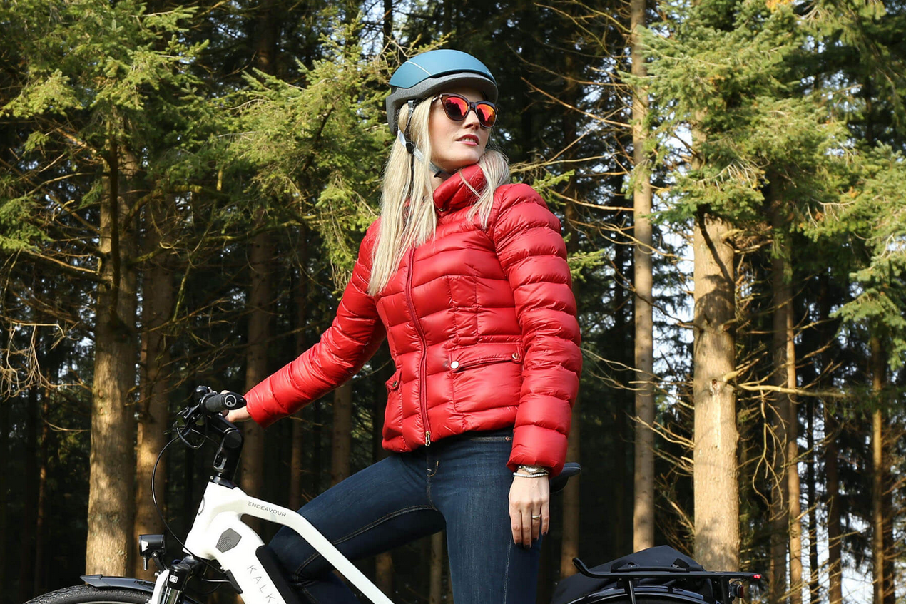 Kalkhoff Lady red jacket white bike woods
